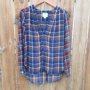 Anthropologie Maeve Sheer Plaid Blouse S